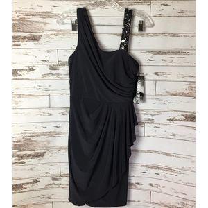Xscape Joanna Chen Grey Asymmetric Dress